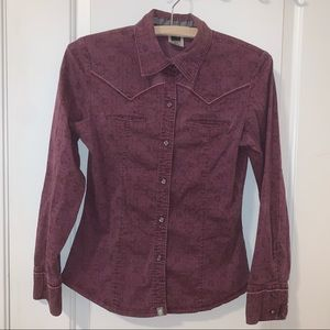 The North Face Purple Floral Button Down Shirt Top